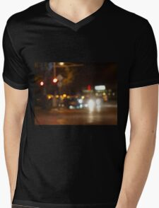 Blur and defocused lights from the headlights of cars Mens V-Neck T-Shirt