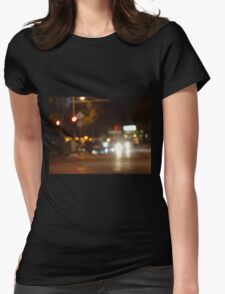 Blur and defocused lights from the headlights of cars Womens Fitted T-Shirt