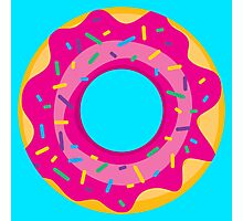 Donut with Pink Icing and Rainbow Sprinkles Photographic Print