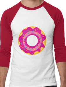 Donut with Pink Icing and Rainbow Sprinkles Men's Baseball ¾ T-Shirt