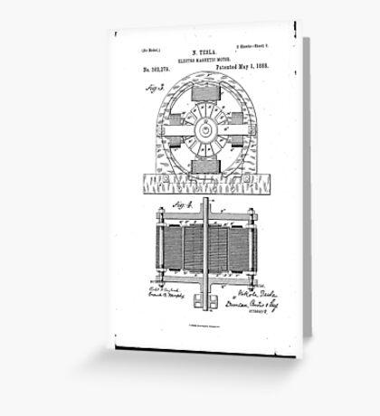 Nikola Tesla Electro-Magnetic Motor No. 382,279 Part 2 Greeting Card