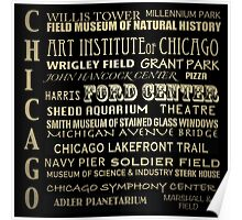 Chicago Illinois Famous Landmarks Poster
