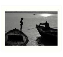 Boy on the Ganga Art Print