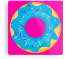 Donut with Blue Icing and Rainbow Sprinkles Metal Print