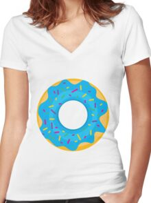 Donut with Blue Icing and Rainbow Sprinkles Women's Fitted V-Neck T-Shirt