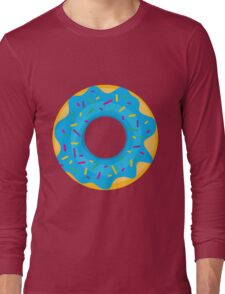 Donut with Blue Icing and Rainbow Sprinkles Long Sleeve T-Shirt