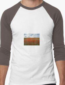 Red poppy field Men's Baseball ¾ T-Shirt