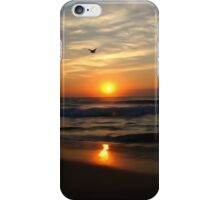 Water color sunrise at beach iPhone Case/Skin