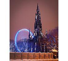 Scott Monument at Winter Festival Photographic Print