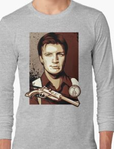 Malcolm Reynolds from Firefly in Shepard Fairey Obama Poster Style Long Sleeve T-Shirt