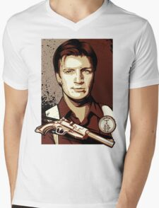 Malcolm Reynolds from Firefly in Shepard Fairey Obama Poster Style Mens V-Neck T-Shirt