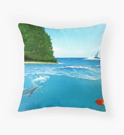 Tropical Ocean Blue Throw Pillow
