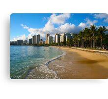 Hawaii - Oahu Island, Honolulu Waikiki Beach Panorama Canvas Print