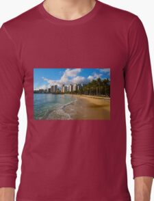 Hawaii - Oahu Island, Honolulu Waikiki Beach Panorama Long Sleeve T-Shirt