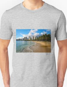 Hawaii - Oahu Island, Honolulu Waikiki Beach Panorama Unisex T-Shirt