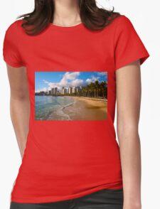 Hawaii - Oahu Island, Honolulu Waikiki Beach Panorama Womens Fitted T-Shirt