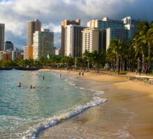 Hawaii - Oahu Island, Honolulu Waikiki Beach Panorama Sticker
