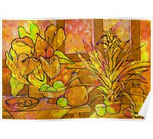 OCHRE INTERIOR WITH ANTHURIUM AND BROMELIA Poster