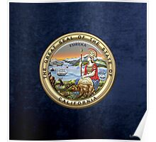 California State Seal over Blue Velvet Poster