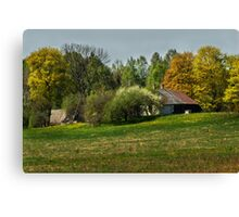 Spring in old farmstead 3 (White & brown house) Canvas Print