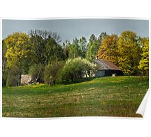 Spring in old farmstead 3 (White & brown house) Poster