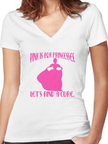 Pink is for Princesses Breast Cancer Awareness Women's Fitted V-Neck T-Shirt