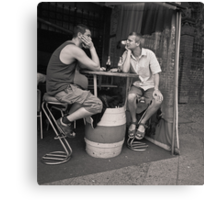 two men, two beers Canvas Print