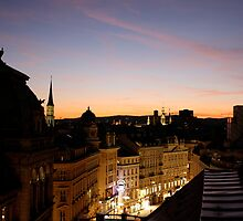 Rooftop Sunset - overlooking Vienna's skyline by Ystava