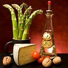 Still Life With Asparagus, Cheese And Olive Oil by savage1
