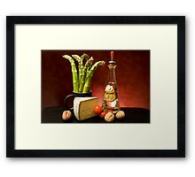 Still Life With Asparagus, Cheese And Olive Oil Framed Print