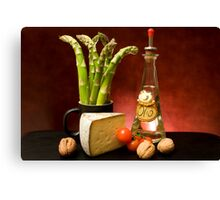 Still Life With Asparagus, Cheese And Olive Oil Canvas Print