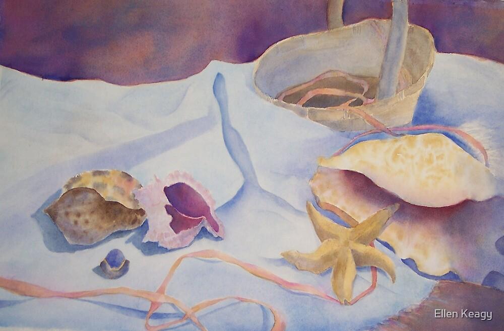 Sea shells still life with ribbon by Ellen Keagy
