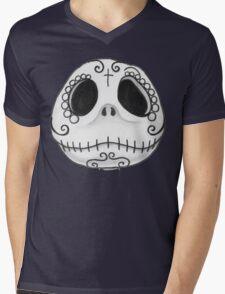 Sugar Skull Jack Skellington face Mens V-Neck T-Shirt