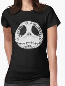 Sugar Skull Jack Skellington face Womens Fitted T-Shirt