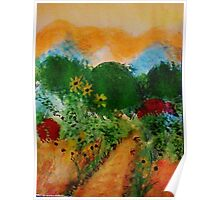 English Garden of colorful trees and bushes along path, watercolor Poster