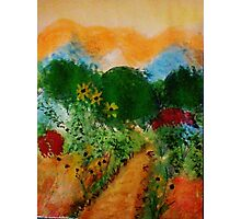 English Garden of colorful trees and bushes along path, watercolor Photographic Print