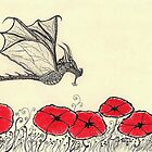 Ruler Of The Garden - Dragon-Fly and Red Poppies by InkyDreamz