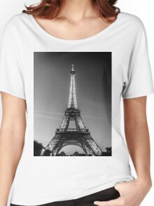 Eiffel Tower and sunset (Black and White) Women's Relaxed Fit T-Shirt