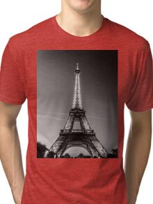 Eiffel Tower and sunset (Black and White) Tri-blend T-Shirt