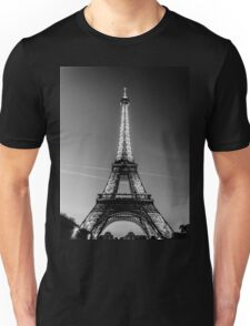 Eiffel Tower and sunset (Black and White) Unisex T-Shirt