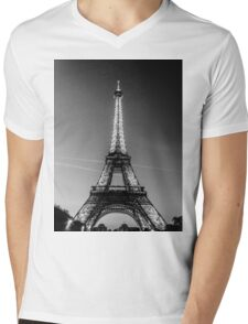 Eiffel Tower and sunset (Black and White) Mens V-Neck T-Shirt
