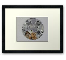 Circular Collage of Concentric Lines  & Forms Framed Print