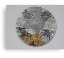 Circular Collage of Concentric Lines  & Forms Canvas Print
