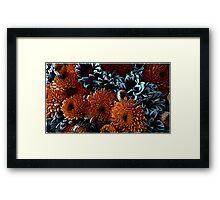 Orange and blue floral texture. Framed Print