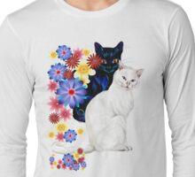 Black and White Garden Kitties Long Sleeve T-Shirt