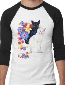 Black and White Garden Kitties Men's Baseball ¾ T-Shirt