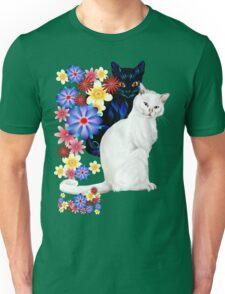 Black and White Garden Kitties Unisex T-Shirt