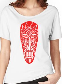 Tiki Mask - Red Women's Relaxed Fit T-Shirt