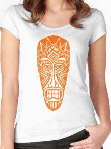 Tiki Mask - Orange Women's Fitted Scoop T-Shirt