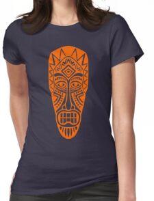 Tiki Mask - Orange Womens Fitted T-Shirt